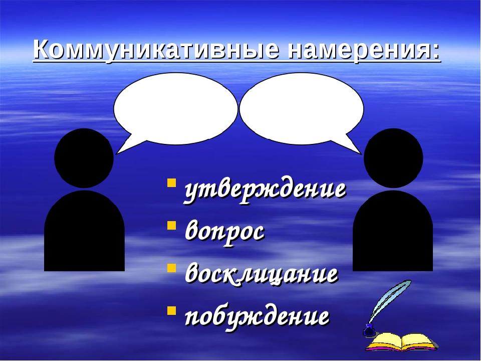 Коммуникативные намерения: утверждение вопрос восклицание побуждение