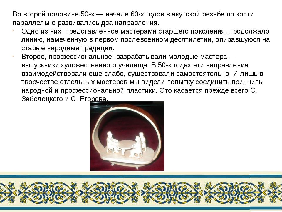 Во второй половине 50-х — начале 60-х годов в якутской резьбе по кости паралл...