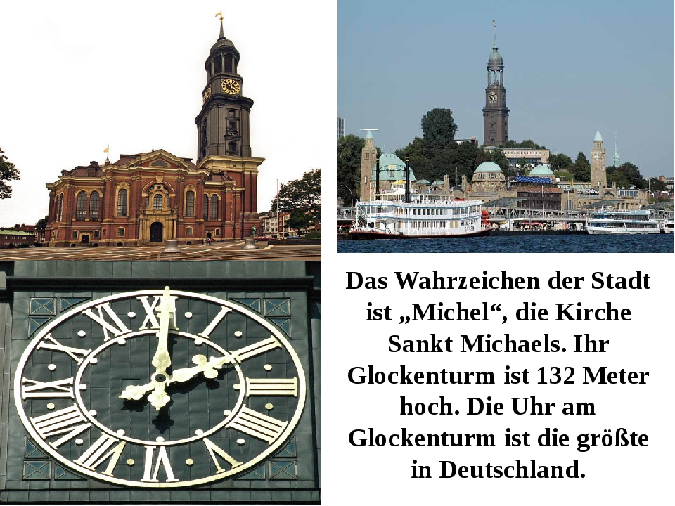 """Das Wahrzeichen der Stadt ist """"Michel"""", die Kirche Sankt Michaels. Ihr Glocke..."""
