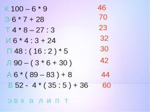 К 100 – 6 * 9 Э 6 * 7 + 28 Т 4 * 8 – 27 : 3 И 6 * 4 : 3 + 24 П 48 : ( 16 : 2
