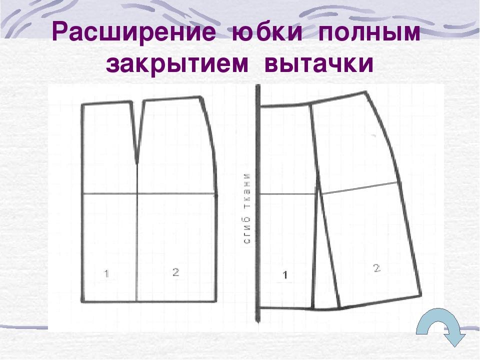 Расширение юбки полным закрытием вытачки