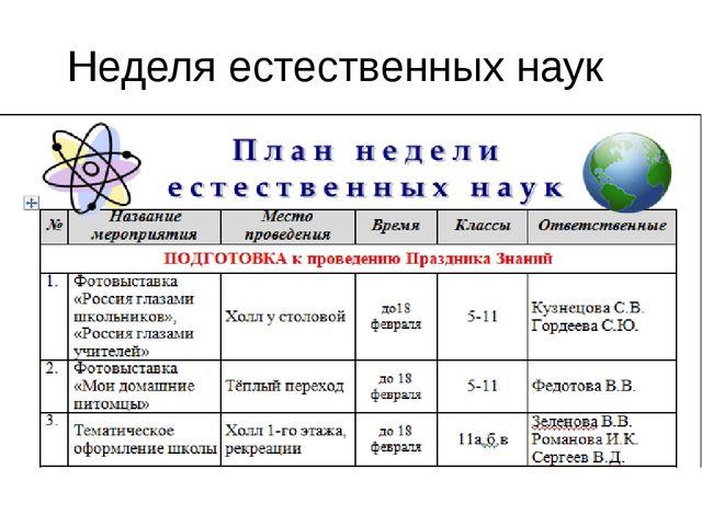 Неделя естественных наук