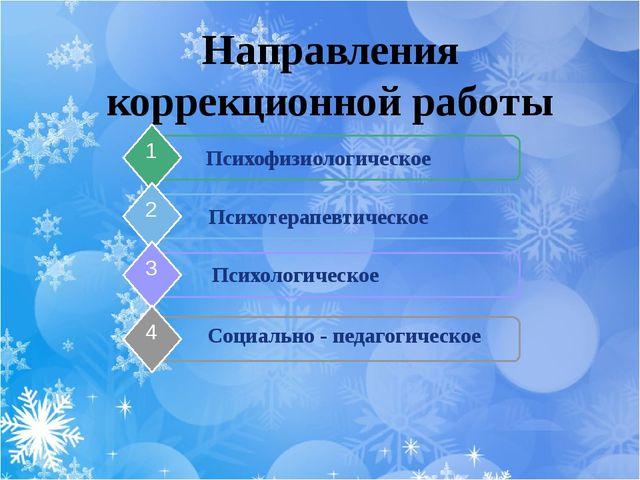 Направления коррекционной работы Психофизиологическое 1 Психотерапевтическое...