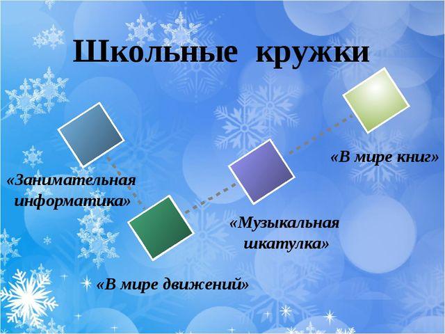 Школьные кружки «В мире книг» «Музыкальная шкатулка» «В мире движений» «Заним...