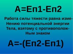 А=Еп1-Еп2 Работа силы тяжести равна изме- Нению потенциальной энергии Тела, в