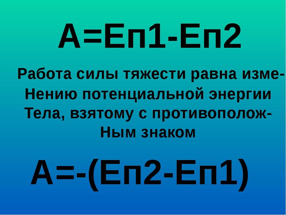А=Еп1-Еп2 Работа силы тяжести равна изме- Нению потенциальной энергии Тела, в...