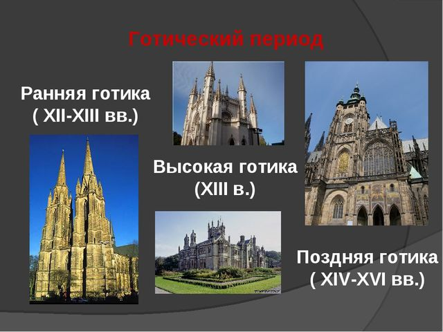 Готический период Ранняя готика ( XII-XIII вв.) Высокая готика (XIII в.) Позд...