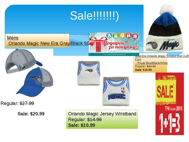Sale!!!!!!!) Sale:$20.99 Regular:$27.99 Mens Orlando Magic New Era Gray/Bla...