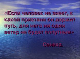 «Если человек не знает, к какой пристани он держит путь, для него ни один вет