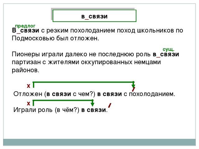 в_связи В_связи с резким похолоданием поход школьников по Подмосковью был отл...