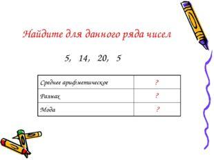 Найдите для данного ряда чисел 5, 14, 20, 5 ? ? ? Среднее арифметическое11 Р