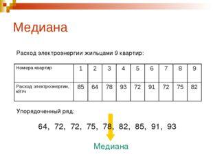 Медиана Расход электроэнергии жильцами 9 квартир: Упорядоченный ряд: 64, 72,