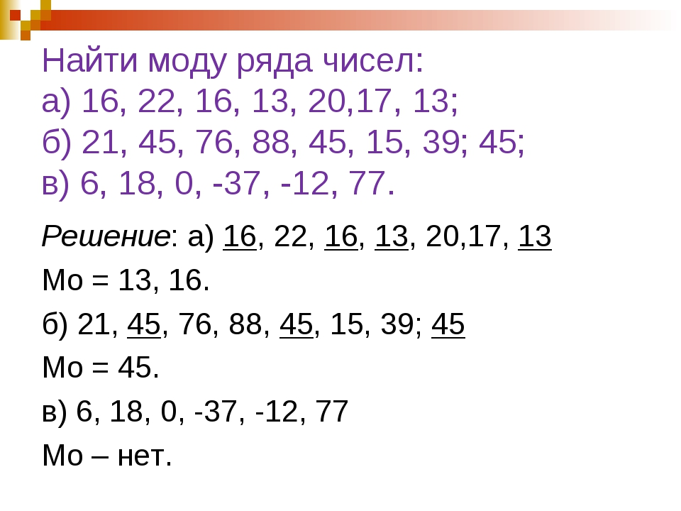 Найти моду ряда чисел: а) 16, 22, 16, 13, 20,17, 13; б) 21, 45, 76, 88, 45, 1...