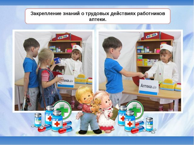 Закрепление знаний о трудовых действиях работников аптеки.