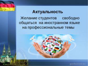 Актуальность Желание студентов свободно общаться на иностранном языке на проф