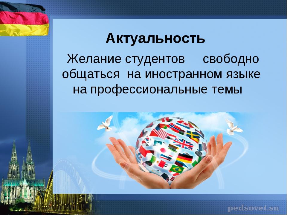 Актуальность Желание студентов свободно общаться на иностранном языке на проф...