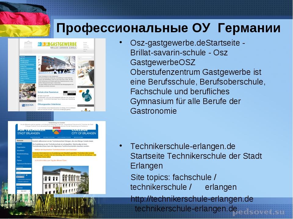 Профессиональные ОУ Германии Osz-gastgewerbe.deStartseite - Brillat-savarin-s...