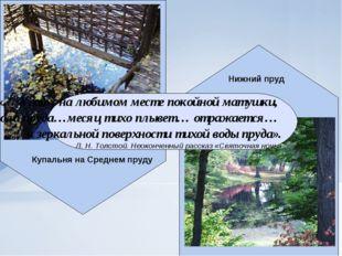 Купальня на Среднем пруду Нижний пруд «… в саду, на любимом месте покойной ма