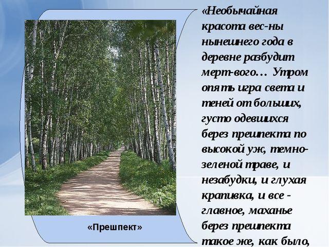 «Необычайная красота вес-ны нынешнего года в деревне разбудит мерт-вого… Утро...