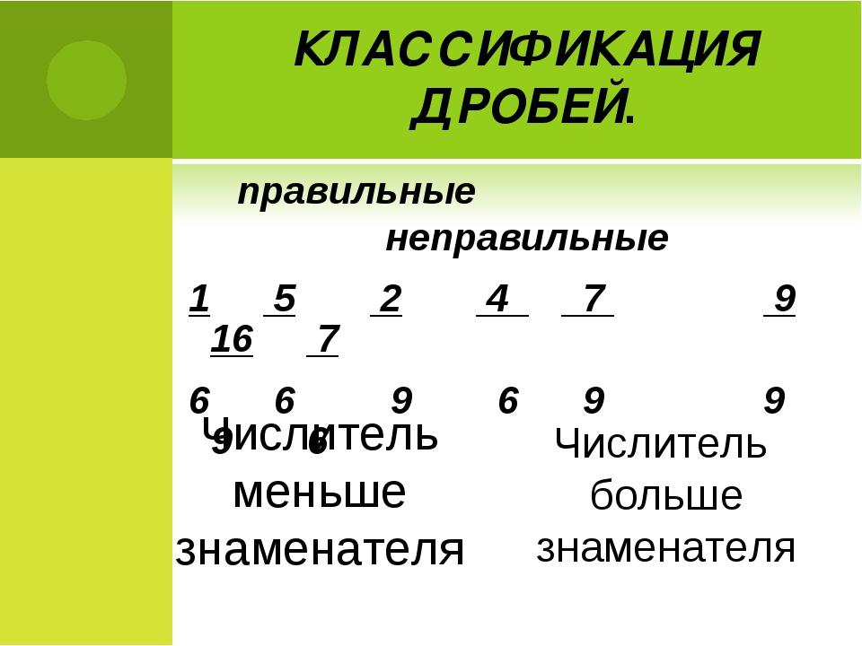 КЛАССИФИКАЦИЯ ДРОБЕЙ. правильные неправильные 1 5 2 4 7 9 16 7 6 6 9 6 9 9 9...