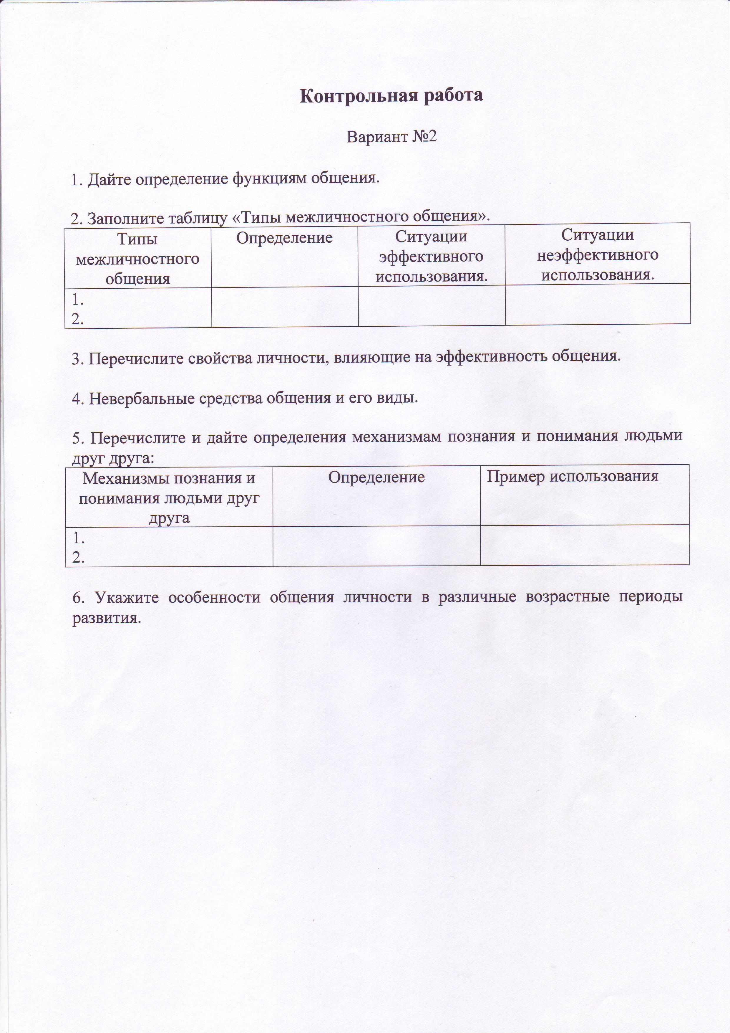 Темы контрольных работ по дисциплине социальная психология 3332