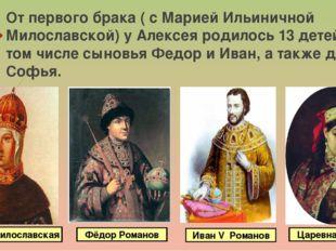 От первого брака ( с Марией Ильиничной Милославской) у Алексея родилось 13 де