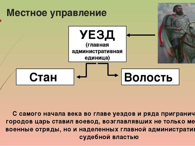 Местное управление УЕЗД (главная административная единица) Стан Волость С сам...