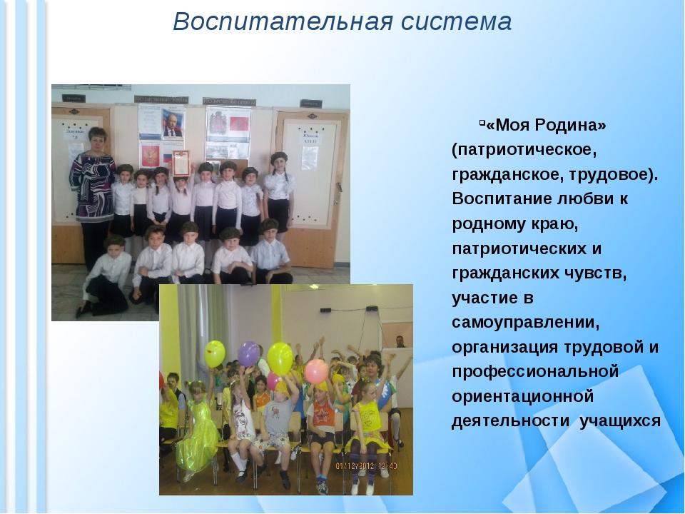 Воспитательная система «Моя Родина» (патриотическое, гражданское, трудовое)....