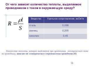 Количество теплоты, которое выделяется при протекании электрического тока по