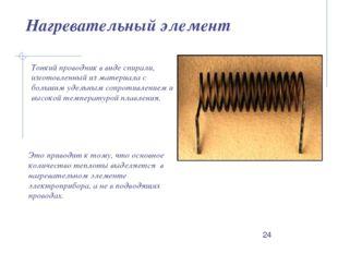 Нагревательный элемент Тонкий проводник в виде спирали, изготовленный из мате