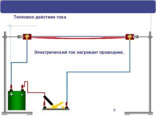 Тепловое действие тока Электрический ток нагревает проводник. В неподвижных