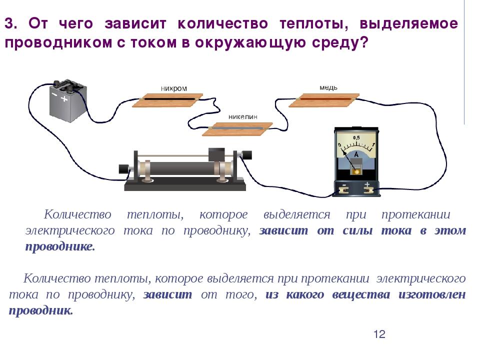 3. От чего зависит количество теплоты, выделяемое проводником с током в окруж...