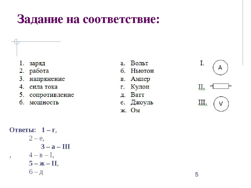 Задание на соответствие: Ответы: 1 – г,  2 – е, 3 – а – III , 4 – в – I,...