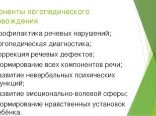 Компоненты логопедического сопровождения Профилактика речевых нарушений; Лого