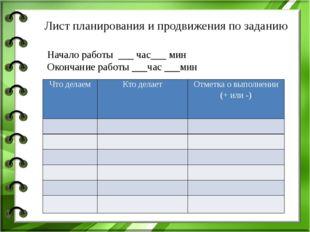 Начало работы ___ час___ мин Окончание работы ___час ___мин Лист планирования