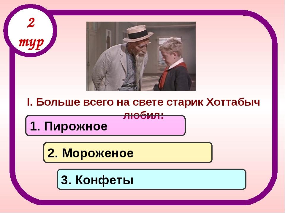 I. Больше всего на свете старик Хоттабыч любил: 1. Пирожное 2. Мороженое 3. К...