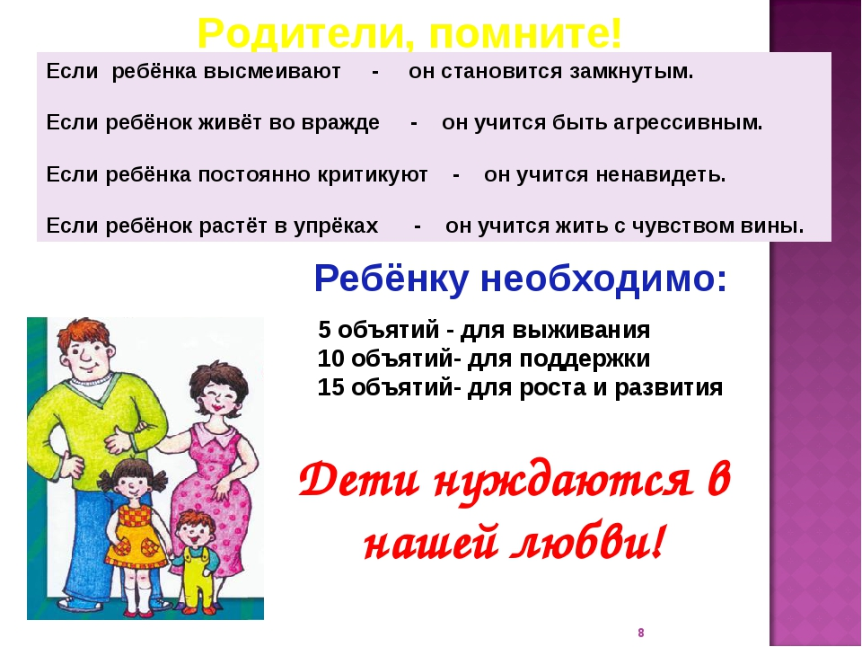 * Родители, помните! Если ребёнка высмеивают - он становится замкнутым. Если...