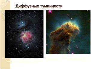 Диффузные туманности Большая туманность Ориона туманность M16 в созвездии Орла