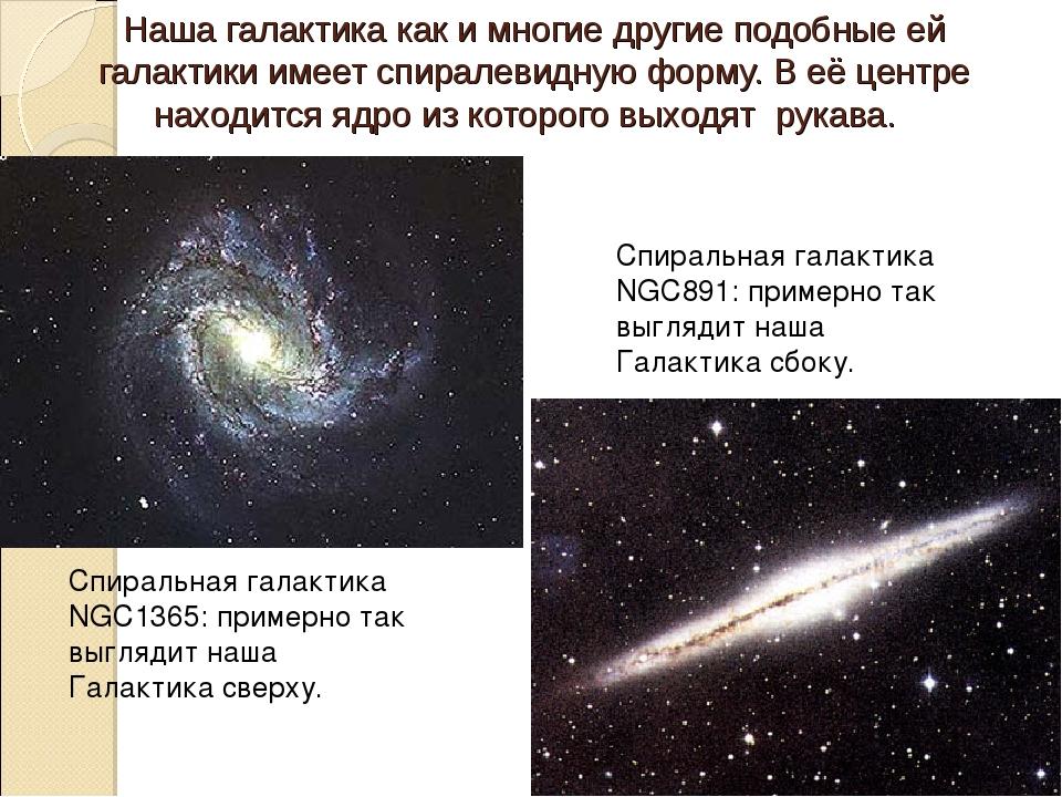 Наша галактика как и многие другие подобные ей галактики имеет спиралевидную...