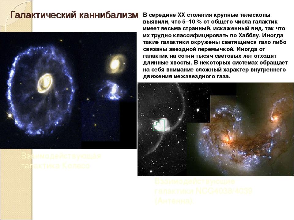 Галактический каннибализм В середине XXстолетия крупные телескопы выявили, ч...