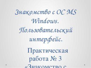 Знакомство с ОС MS Windows. Пользовательский интерфейс. Практическая работа