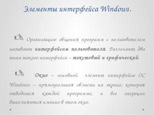 Элементы интерфейса Windows.  Организацию общения программ с пользователем н