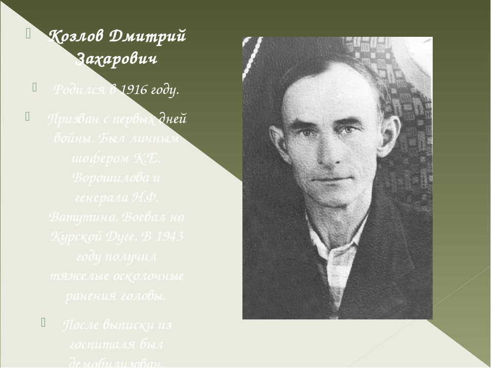 Козлов Дмитрий Захарович Родился в 1916 году. Призван с первых дней войны. Б...