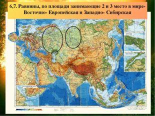 6,7. Равнины, по площади занимающие 2 и 3 место в мире- Восточно- Европейска