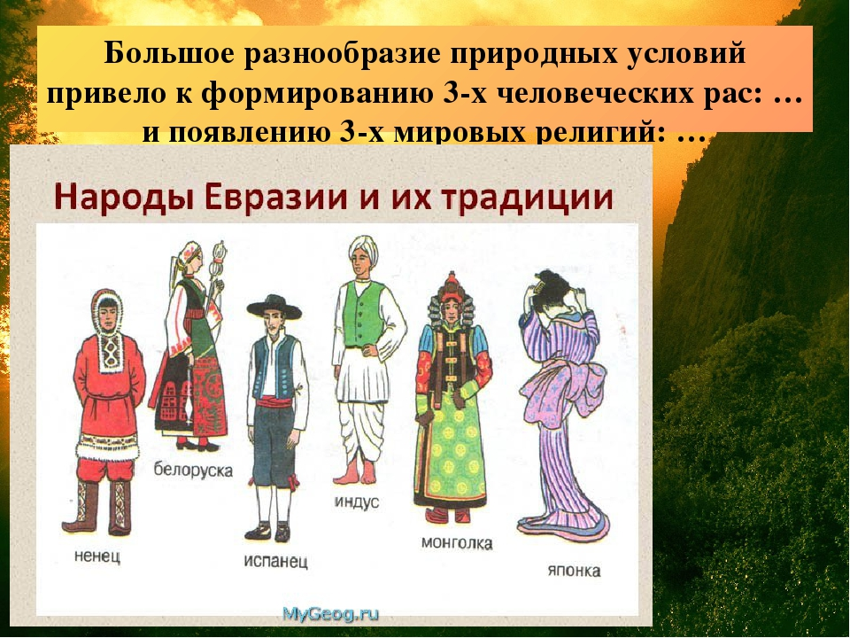 Большое разнообразие природных условий привело к формированию 3-х человечески...