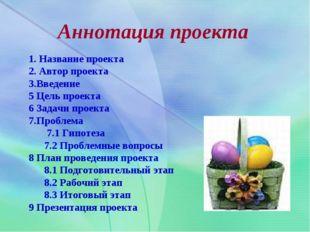 Аннотация проекта 1. Название проекта 2. Автор проекта 3.Введение 5 Цель прое