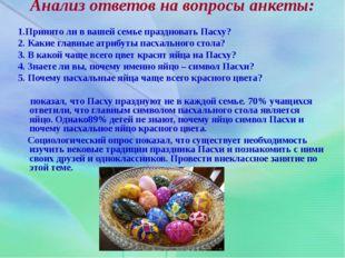 Анализ ответов на вопросы анкеты: 1.Принято ли в вашей семье праздновать Пасх