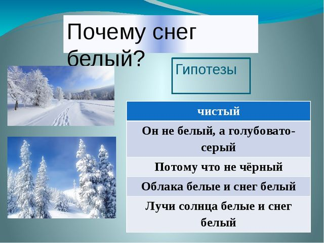 Почему снег белый? Гипотезы чистый Он не белый, а голубовато-серый Потому что...