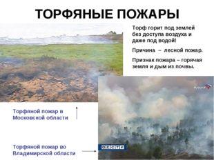 ТОРФЯНЫЕ ПОЖАРЫ Торф горит под землей без доступа воздуха и даже под водой! П
