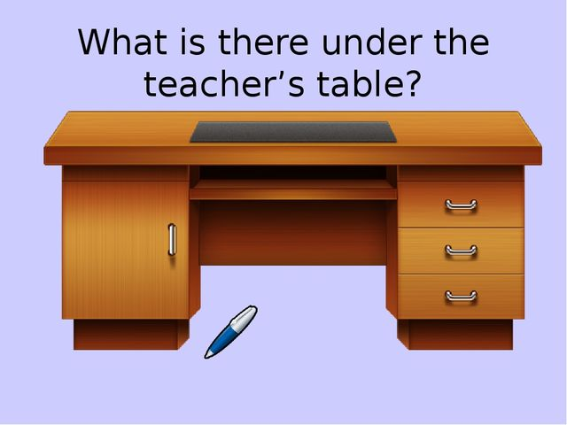 What is there under the teacher's table?